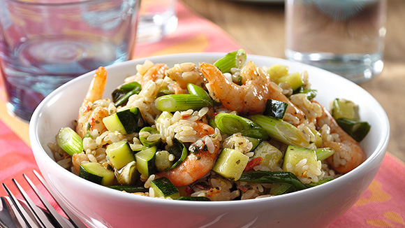 Comment préparer un risotto aux crevettes et aux courgettes ?
